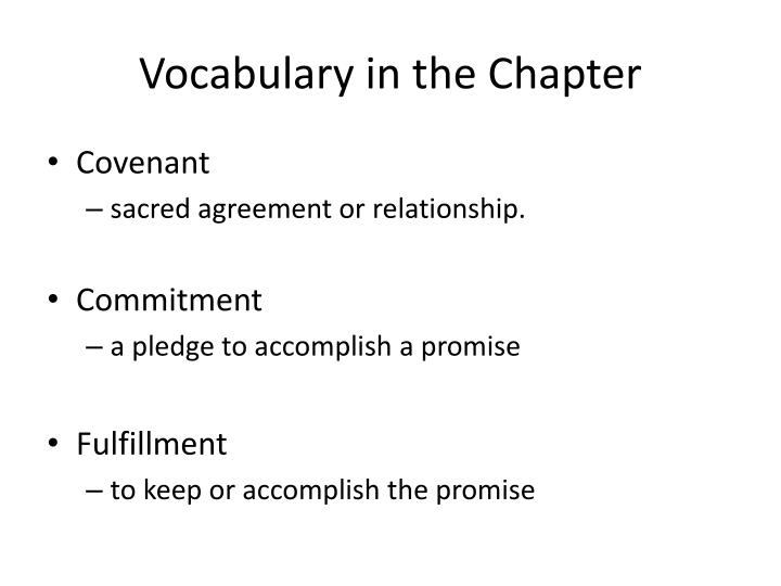 Vocabulary in the Chapter