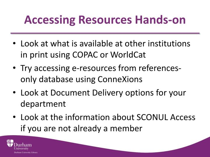 Accessing Resources Hands-on