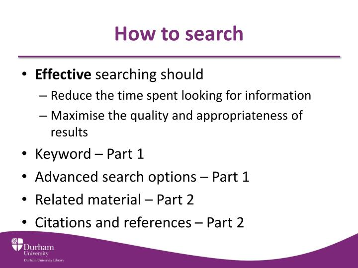How to search