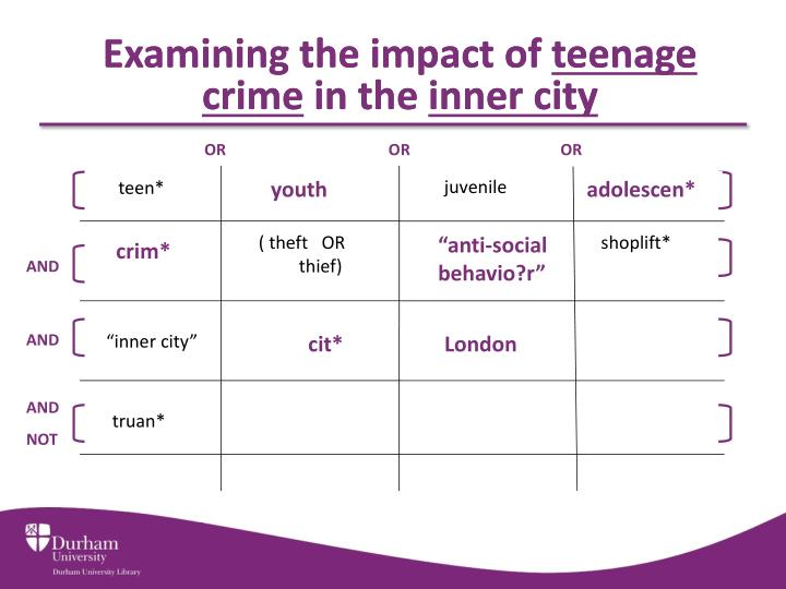 Examining the impact of teenage crime in the inner city