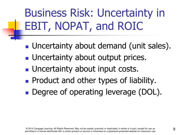 Business Risk: Uncertainty in EBIT, NOPAT, and ROIC