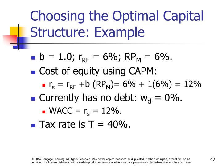 Choosing the Optimal Capital Structure: Example