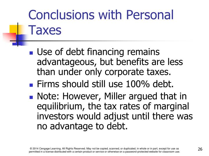 Conclusions with Personal Taxes