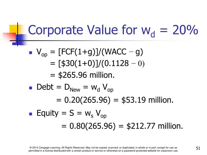 Corporate Value for w