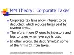 mm theory corporate taxes