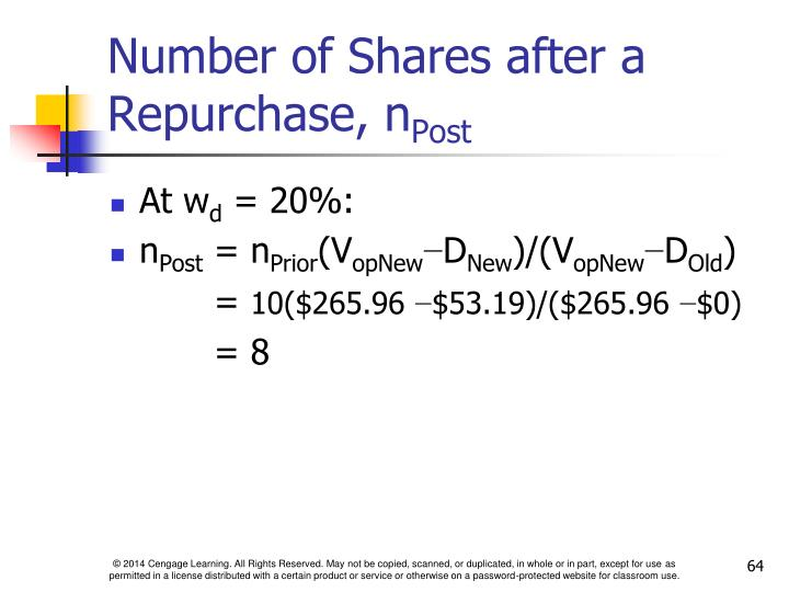 Number of Shares after a  Repurchase, n