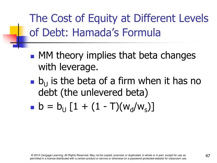 The Cost of Equity at Different Levels of Debt: Hamada's Formula
