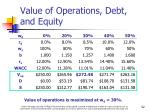 value of operations debt and equity