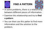 find a pattern