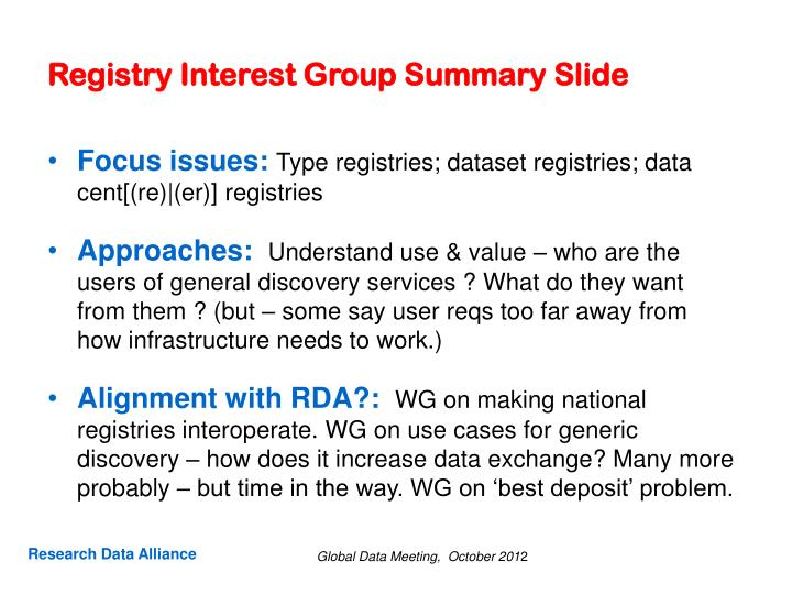 Registry interest group summary slide