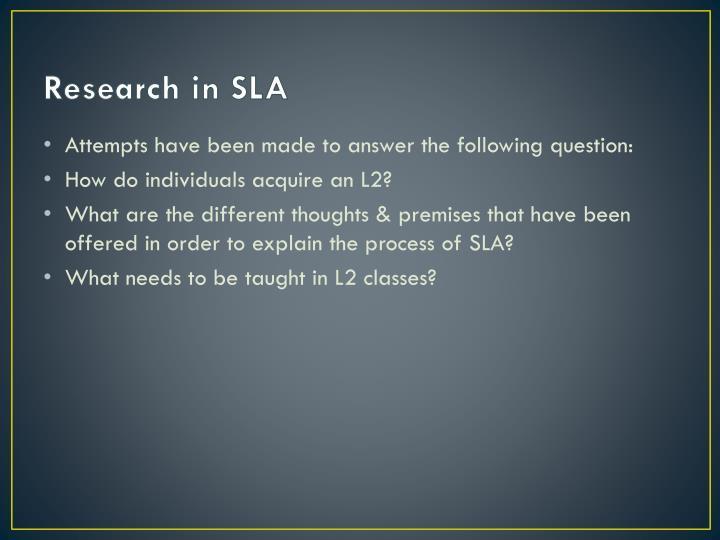 Research in SLA