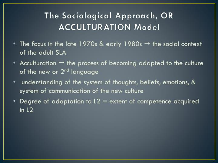 The Sociological Approach, OR