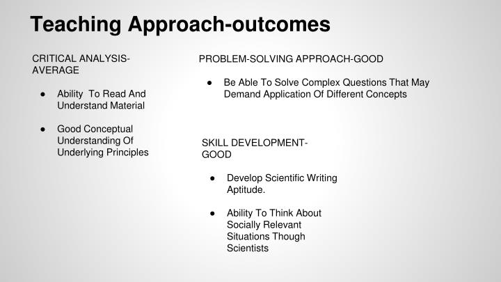 Teaching Approach-outcomes