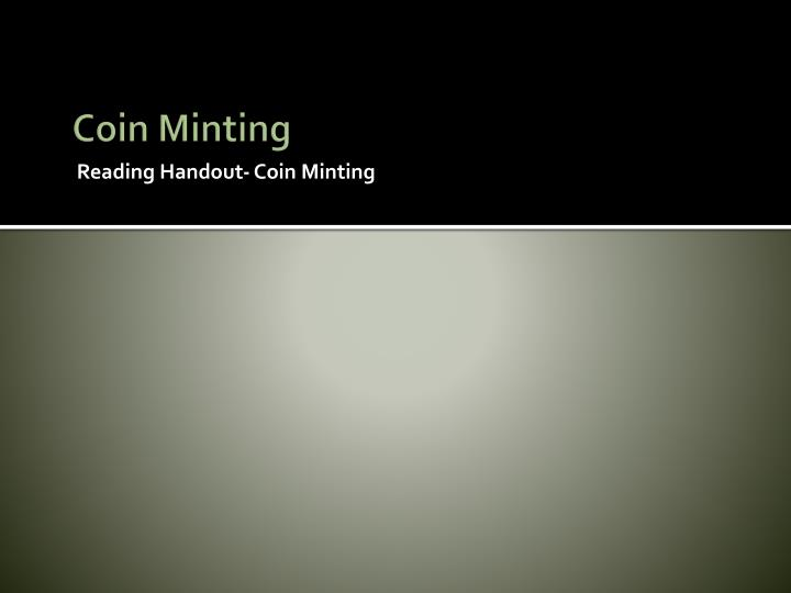 Coin Minting
