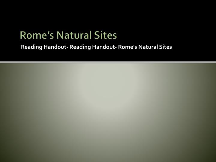 Rome's Natural Sites