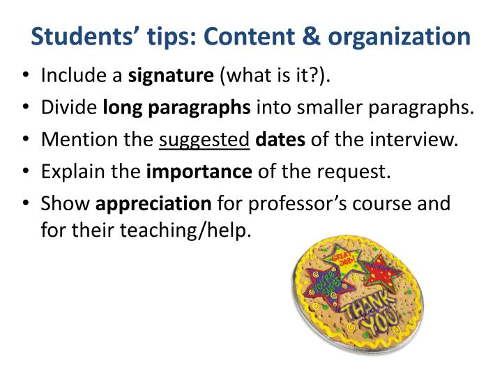 Students tips content organization