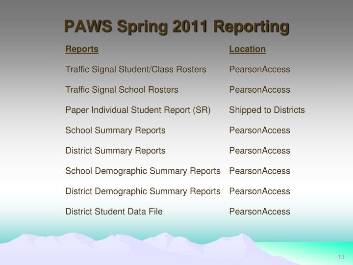 PAWS Spring 2011 Reporting