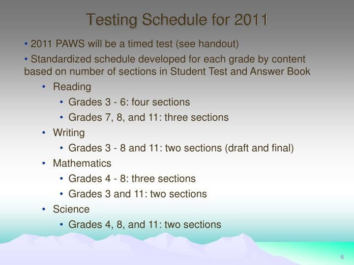 Testing Schedule for 2011