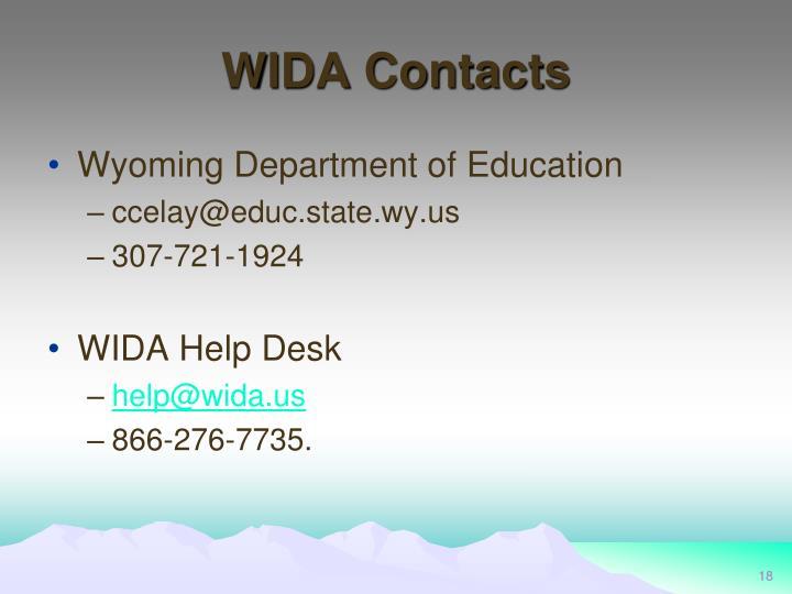 WIDA Contacts