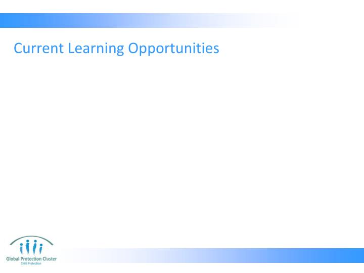 Current Learning Opportunities