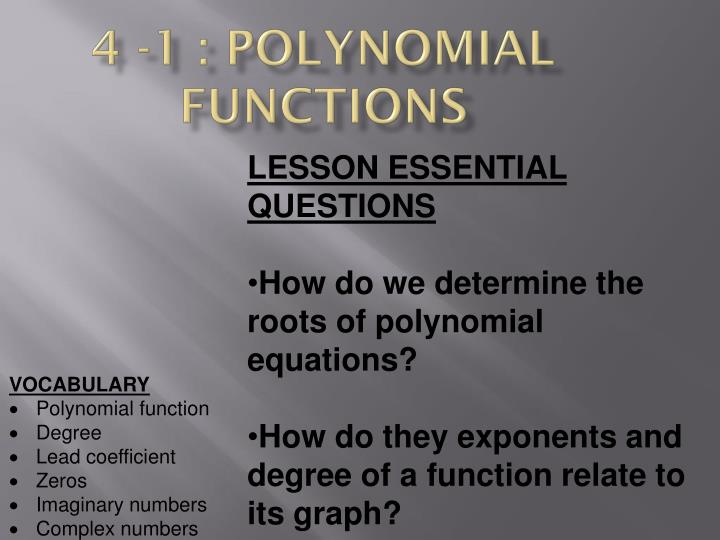 4 -1 : Polynomial Functions