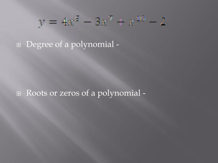 Degree of a polynomial -