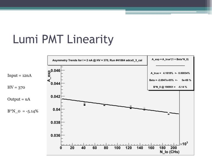 Lumi PMT Linearity