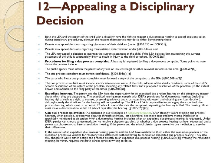 12—Appealing a Disciplinary Decision