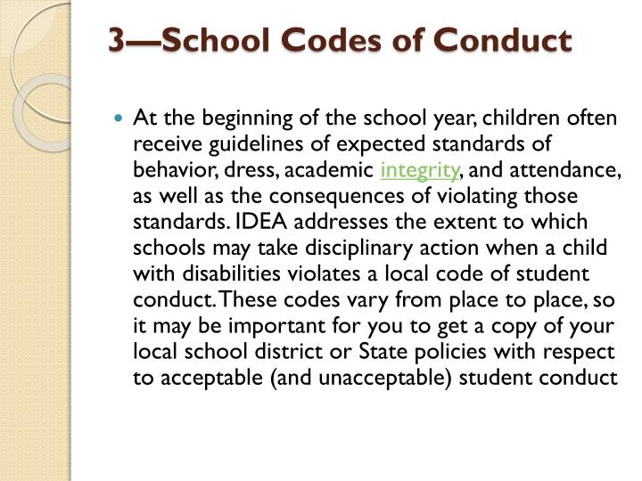 3—School Codes of Conduct
