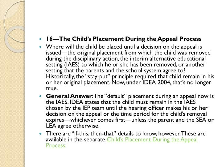 16—The Child's Placement During the Appeal Process