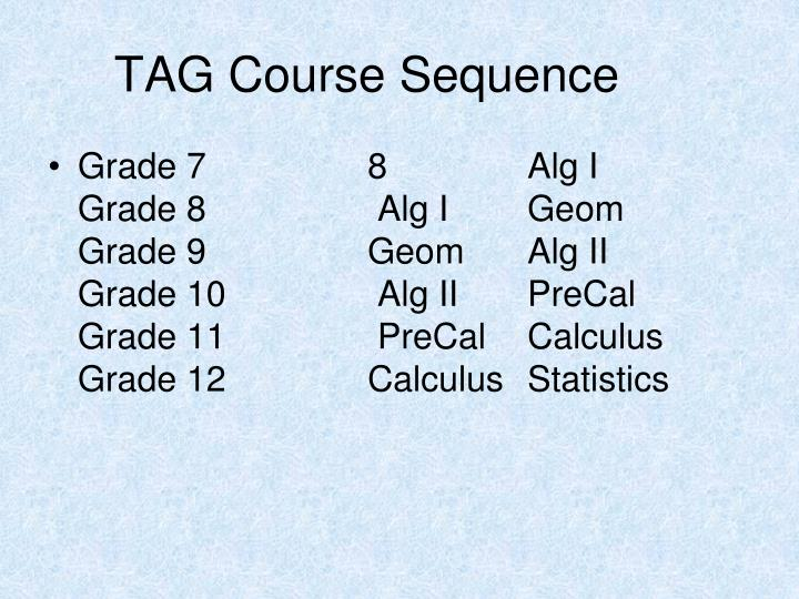 TAG Course Sequence