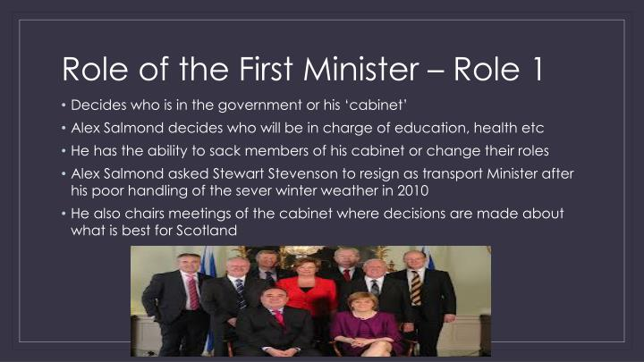 Role of the first minister role 1