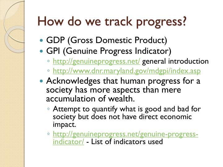 How do we track progress?