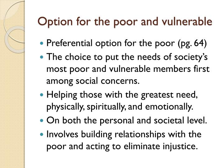 Option for the poor and