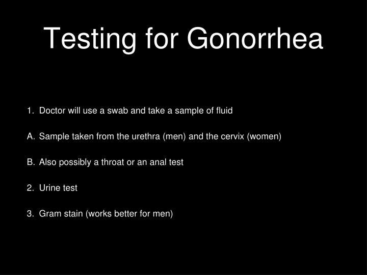 Testing for Gonorrhea