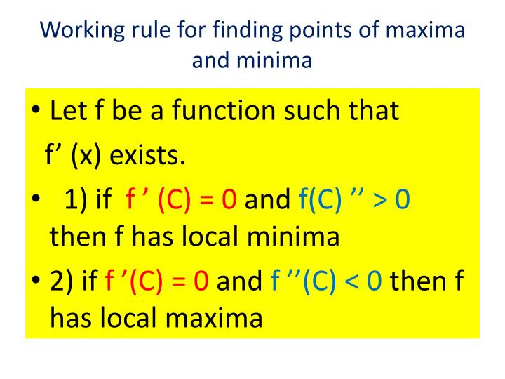 how to find maximum and minimum points