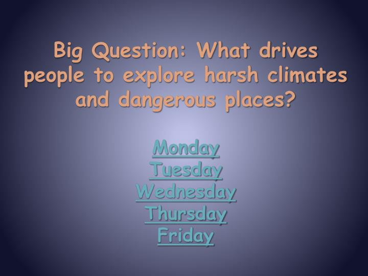 Big Question: What drives people to explore harsh climates and dangerous places?