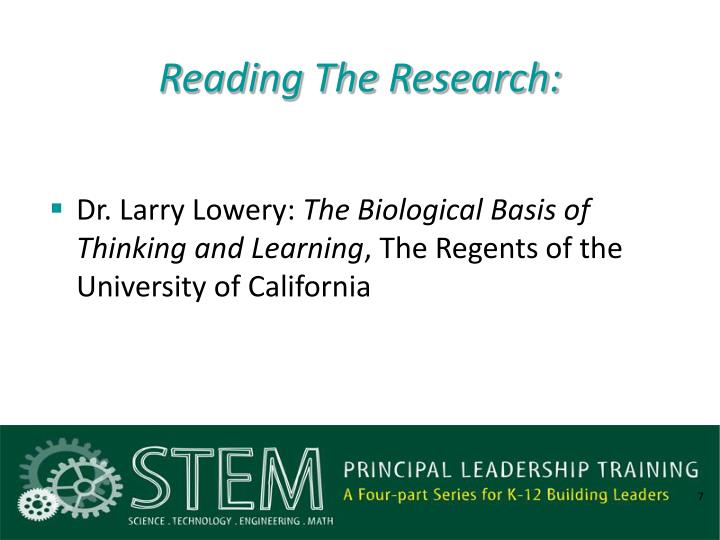 Reading The Research: