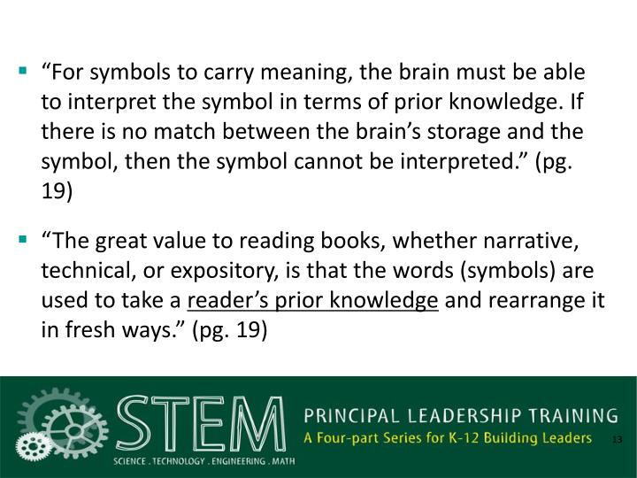 """For symbols to carry meaning, the brain must be able to interpret the symbol in terms of prior knowledge. If there is no match between the brain's storage and the symbol, then the symbol cannot be interpreted."" (pg. 19)"