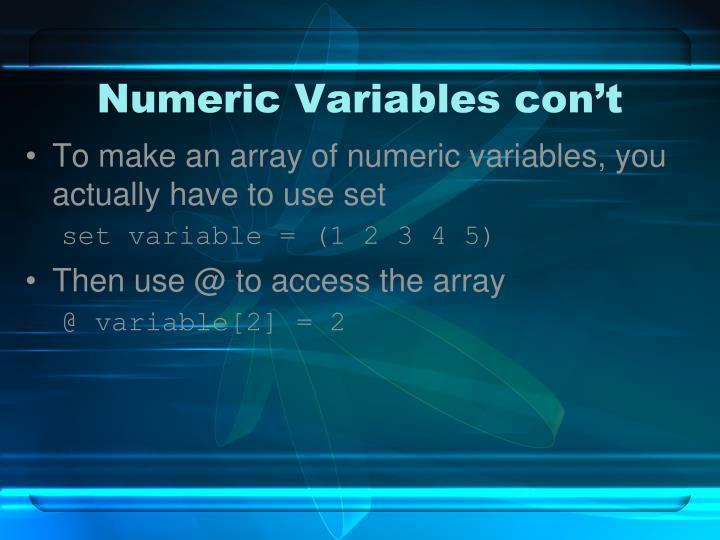 Numeric Variables con't