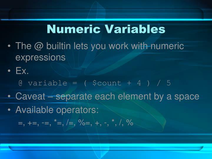 Numeric Variables