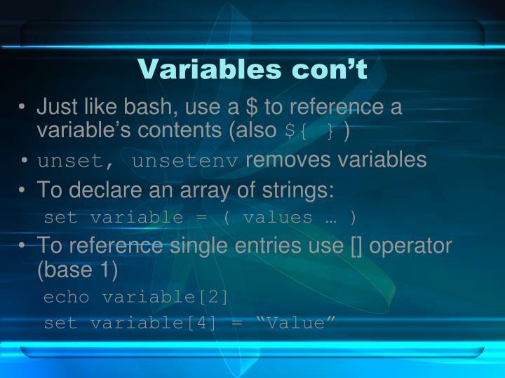 Variables con't