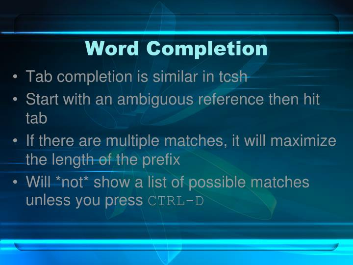 Word Completion