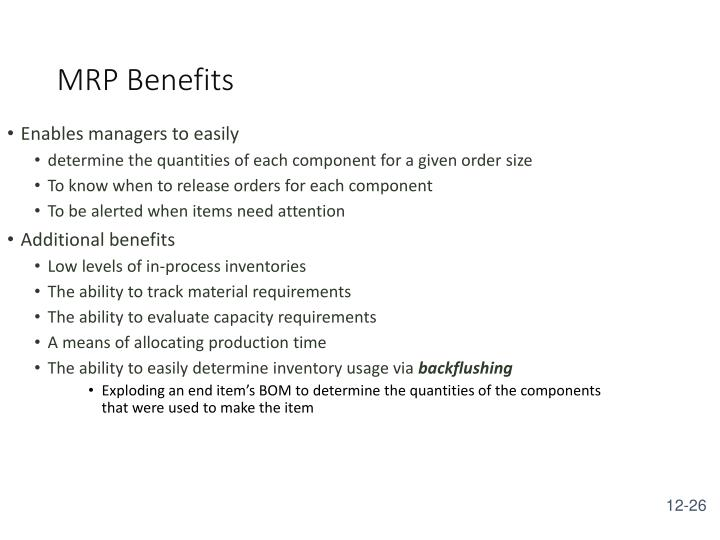 MRP Benefits