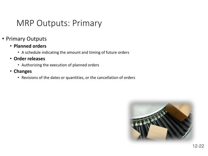 MRP Outputs: Primary