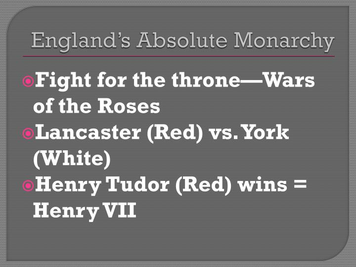 England's Absolute Monarchy