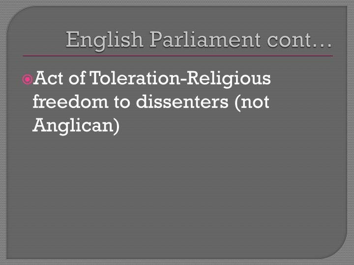 English Parliament cont…