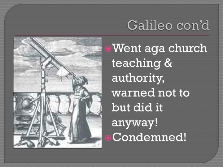 Galileo con'd