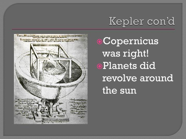Kepler con'd