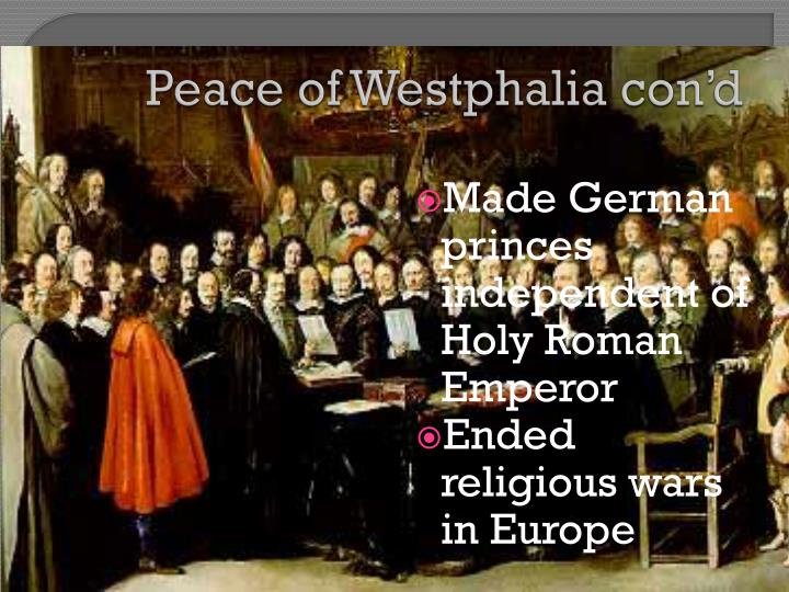 Peace of Westphalia con'd